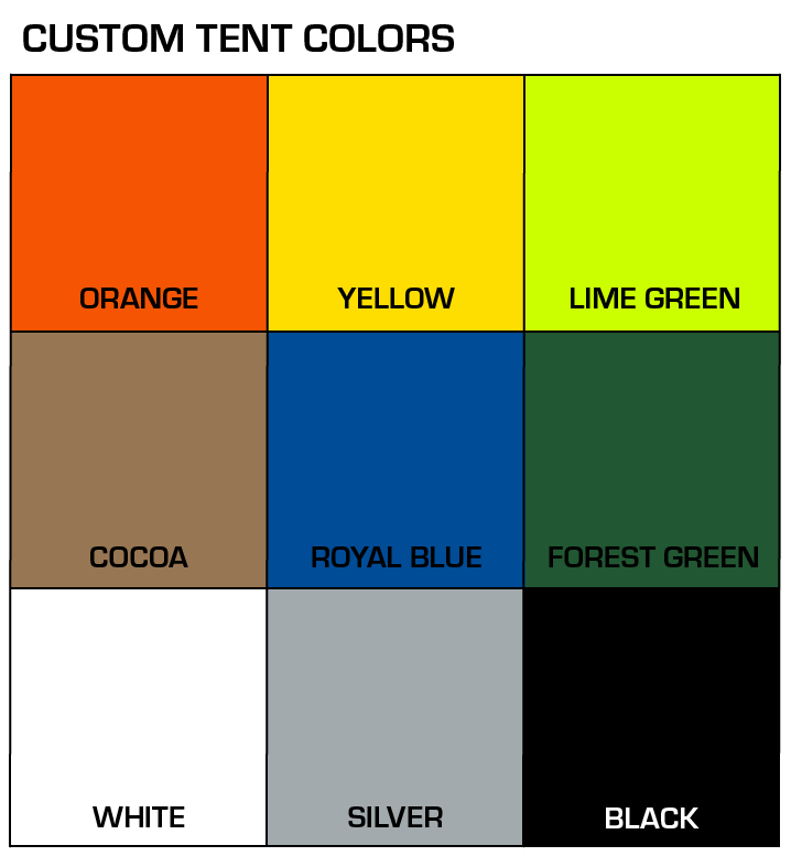 Graphic of tent color options
