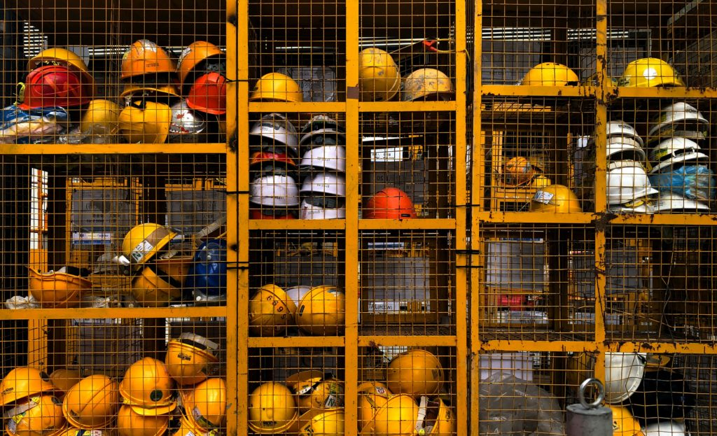 Hard hat storage at a construction site.