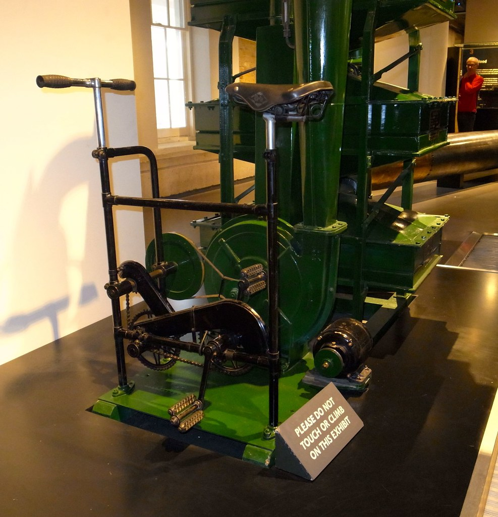An antique pedal-powered blower.