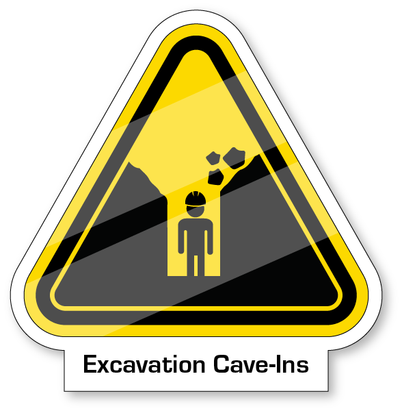 Yeild sign featuring a worker in a hardhat in an excavated cav with rock falling in