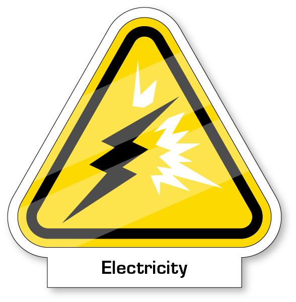 Yeild sign with a blot of electricity and waves coming off bolt