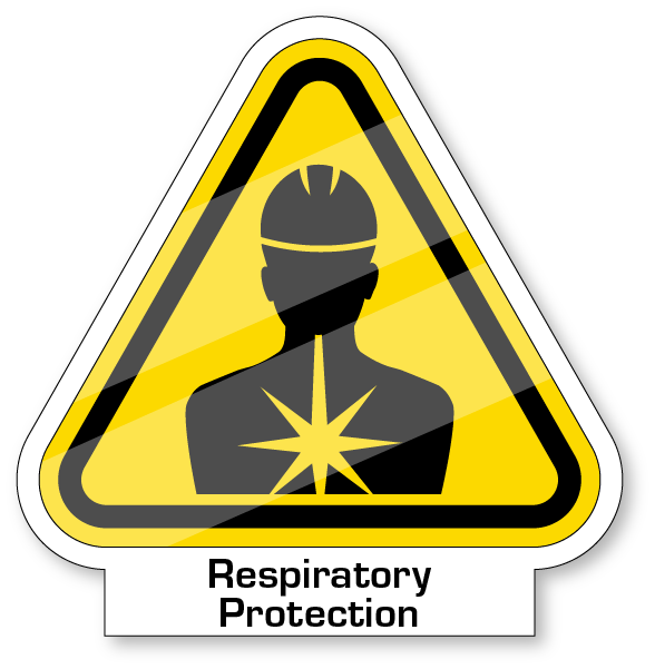 Yeild sign with a worker wearing hardhat and their chest/lungs highlighted for respiratory protection