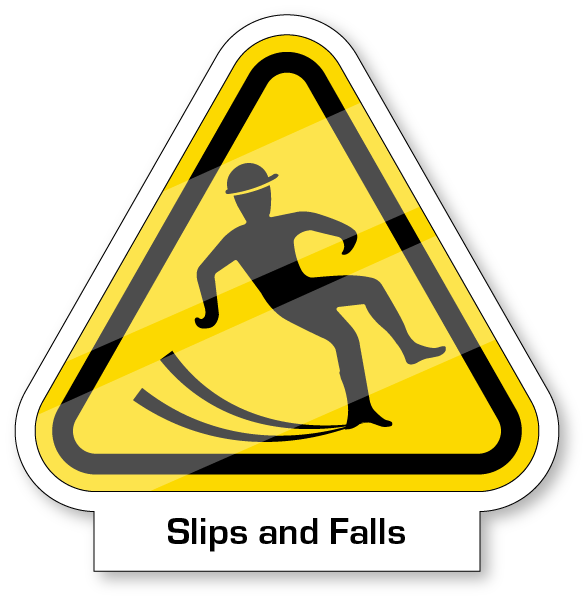 Yeild sign with a worker falling on slippery floors